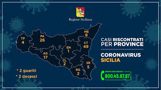 Mappa contagi Sicilia
